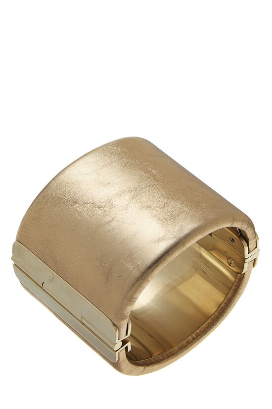 Gold Leather 'CC' Cuff, , large image number 1
