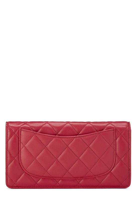 Pink Quilted Lambskin Long Wallet, , large image number 2