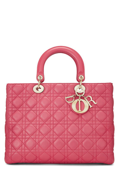 Pink Cannage Quilted Lambskin Lady Dior Large