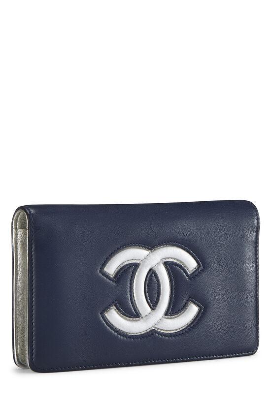 Navy & Silver 'CC' Calfskin Wallet Long, , large image number 1