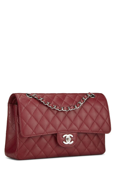 Red Quilted Caviar Classic Double Flap Medium, , large