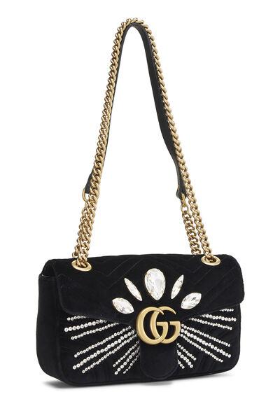 Black Velvet GG Marmont Shoulder Bag, , large