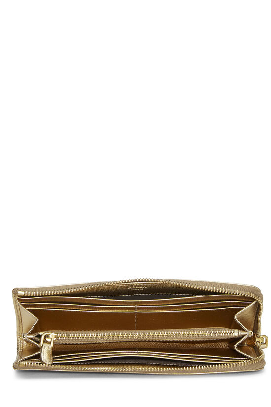 Gold Saffiano Zip Around Wallet, , large image number 3