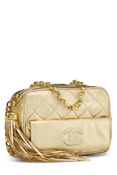 Gold Quilted Lambskin Pocket Camera Bag Mini, , large