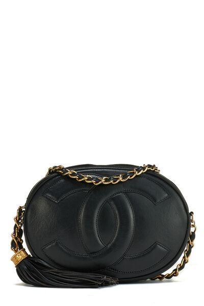 Black Lambskin 'CC' Oval Shoulder Bag