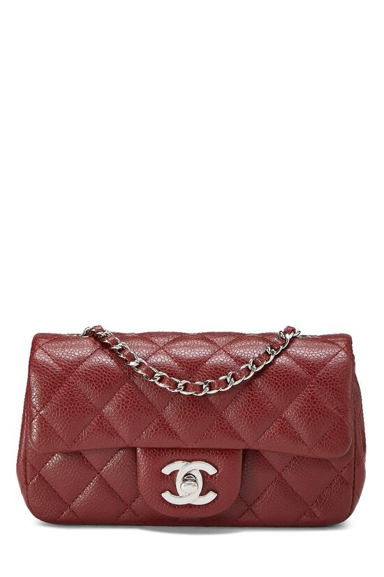 Burgundy Quilted Caviar Half Flap Mini, , large image number 0