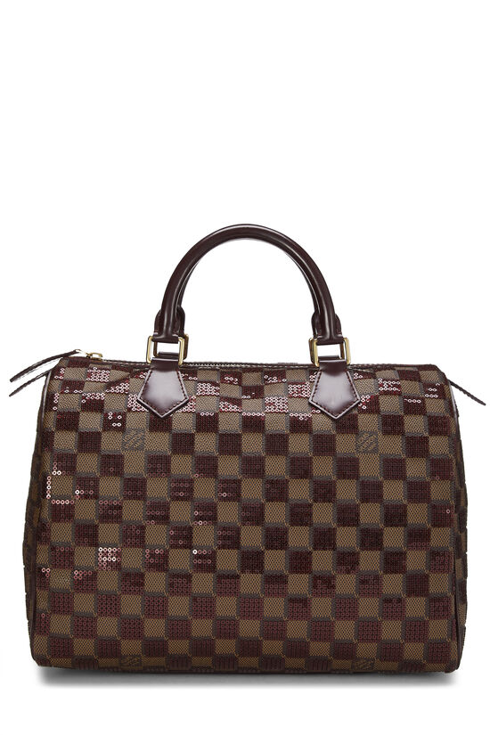 Red Damier Paillettes Speedy 30, , large image number 0