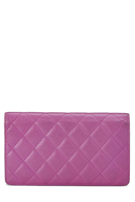 Purple Quilted Caviar Yen Wallet, , large image number 2