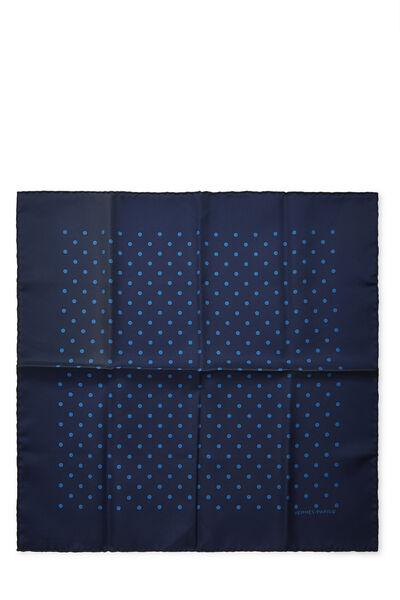 Navy Silk Dot Motif Pocket Square