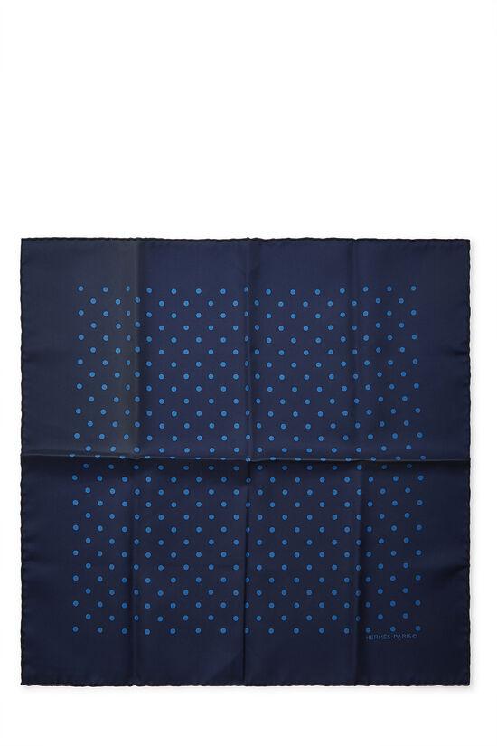 Navy Silk Dot Motif Pocket Square, , large image number 0