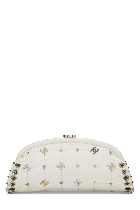 White Calfskin Punk Timeless Clutch, , large image number 0