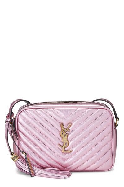 Metallic Pink Quilted Calfskin Lou Camera Bag