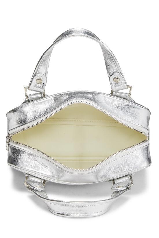 Metallic Silver Leather Logo Handbag Small, , large image number 5