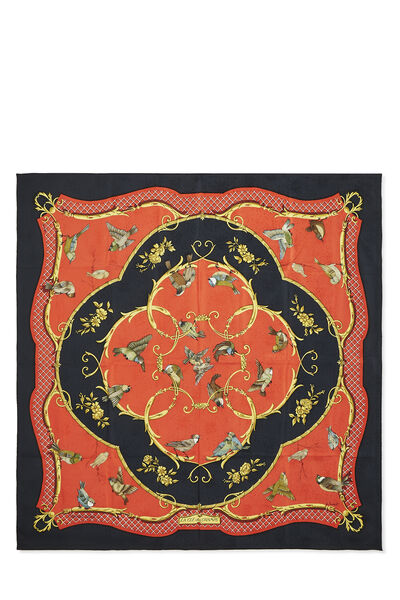 Red & Multicolor 'La Clé des Champs' Silk Scarf 90