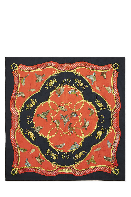 Red & Multicolor 'La Clé des Champs' Silk Scarf 90, , large image number 0