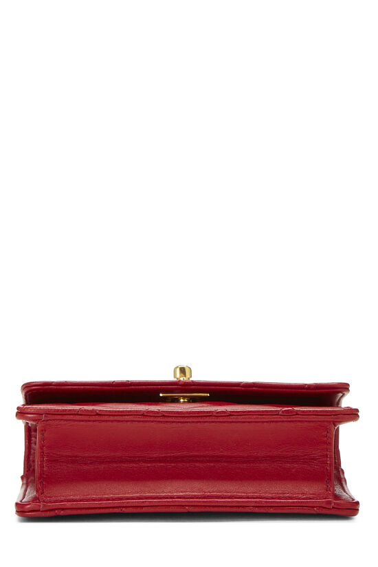 Red Quilted Lambskin Half Flap Micro, , large image number 4