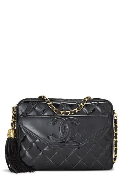 Black Patent Leather Pocket Camera Bag Medium