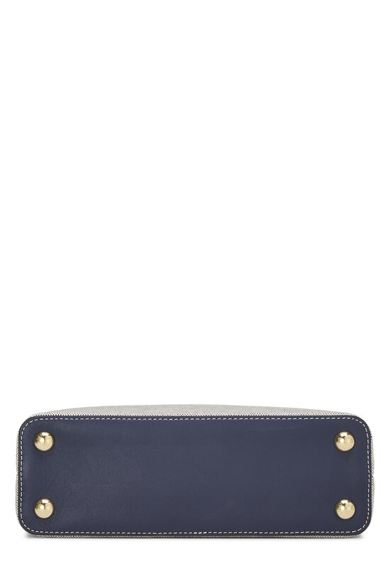Natural Canvas & Navy Leather Capucines BB, , large image number 5