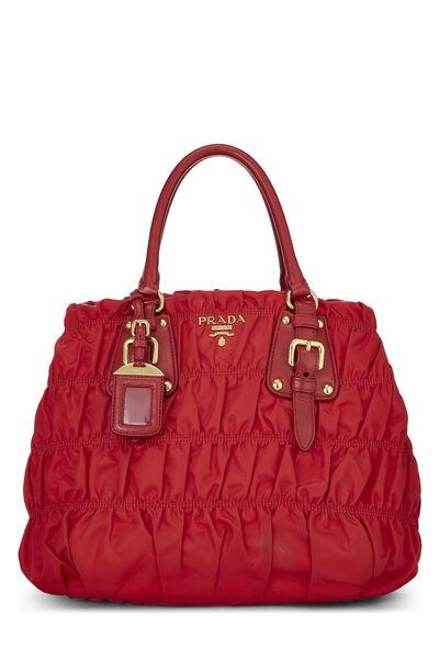 Red Nappa Gaufre Shoulder Bag