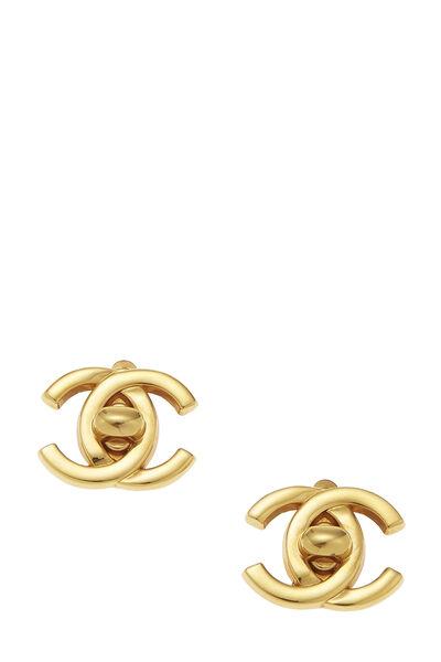 Gold 'CC' Turnlock Earrings Small