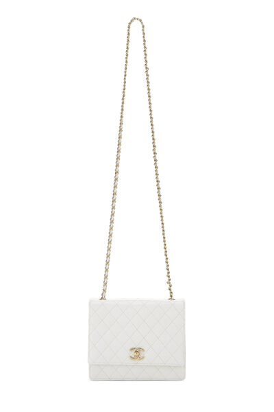 White Quilted Leather Shoulder Bag Small, , large