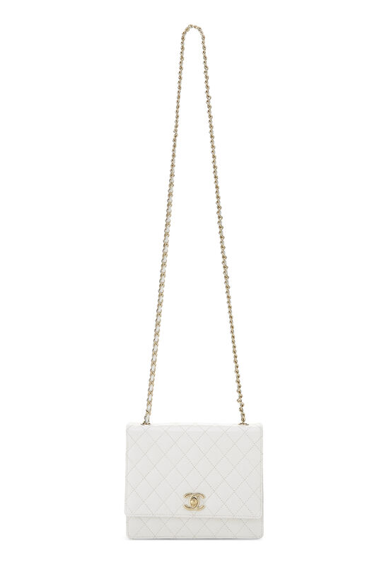 White Quilted Leather Shoulder Bag Small, , large image number 1