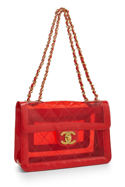Red Quilted Vinyl Half Flap Maxi, , large