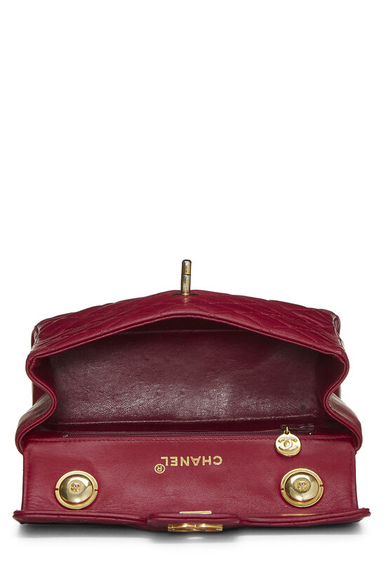 Burgundy Quilted Lambskin Top Handle Small, , large image number 5