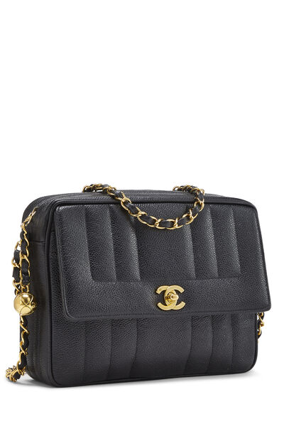 Black Vertical Caviar Pocket Camera Bag Medium, , large