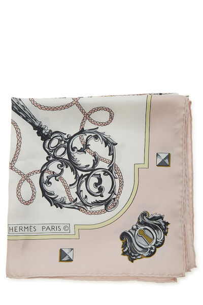 Pink & Multicolor 'Les Clefs' Silk Scarf 90, , large
