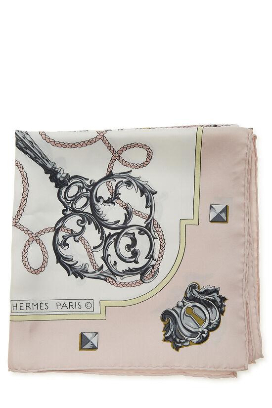 Pink & Multicolor 'Les Clefs' Silk Scarf 90, , large image number 1