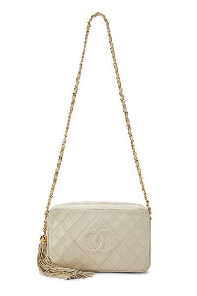 Cream Quilted Lambskin 'CC' Camera Bag Large, , large