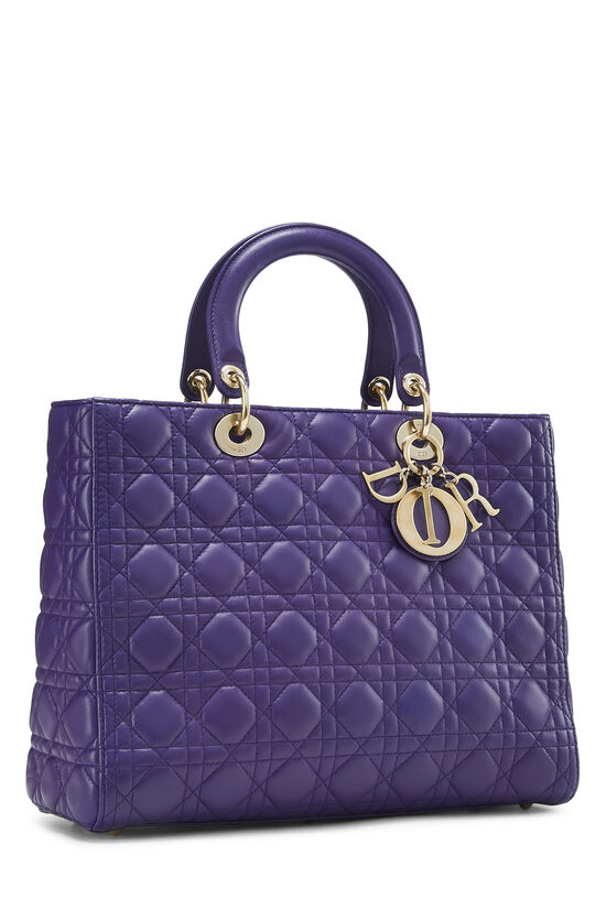 Purple Cannage Quilted Lambskin Lady Dior Large, , large image number 2