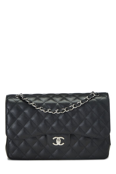 Black Quilted Caviar New Classic Double Flap Jumbo