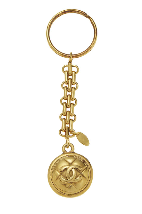 Gold Quilted 'CC' Keychain, , large image number 1