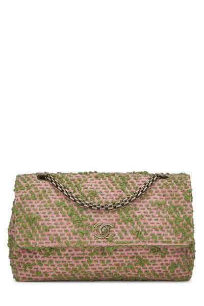 Pink & Green Tweed Classic Flap Medium