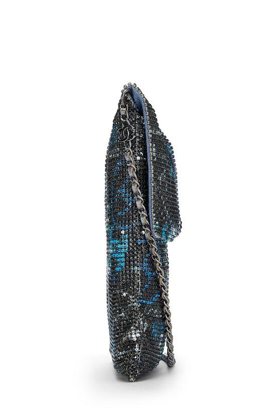 Grey & Blue Graffiti Rhinestone Chain Mail Bag, , large image number 2