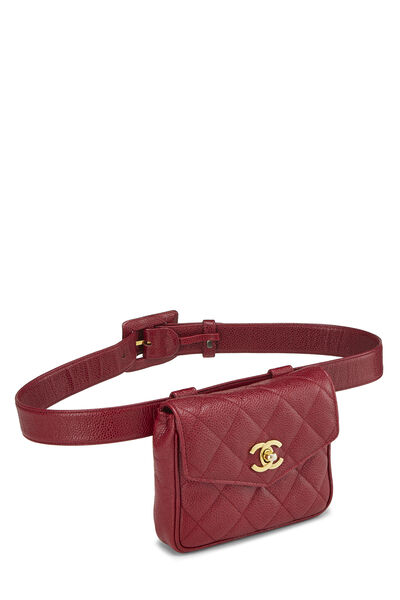 Red Quilted Caviar Envelope Belt Bag, , large