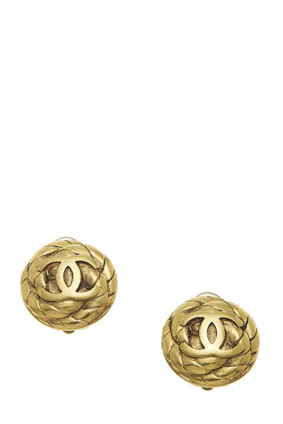 Gold Quilted 'CC' Earrings