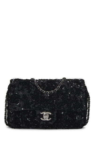 Black Sequin Half Flap Mini