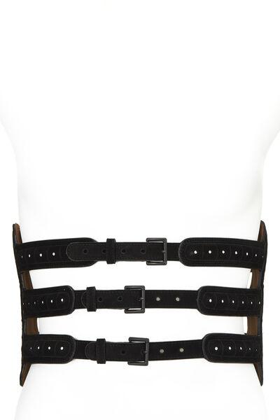 Black Suede Corset Belt 75