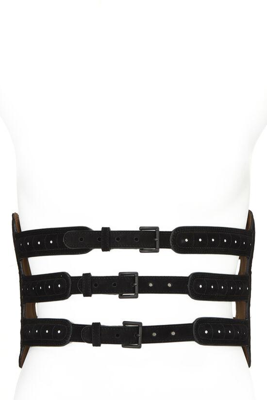 Black Suede Corset Belt 75, , large image number 0