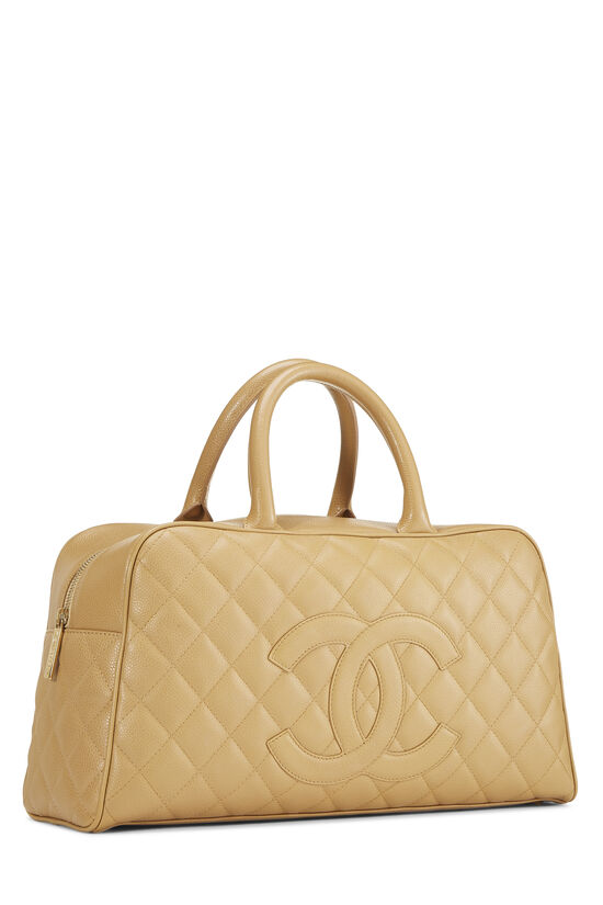 Beige Quilted Caviar Bowler Small, , large image number 1