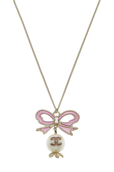 Purple Bow & Faux Pearl Necklace Large, , large
