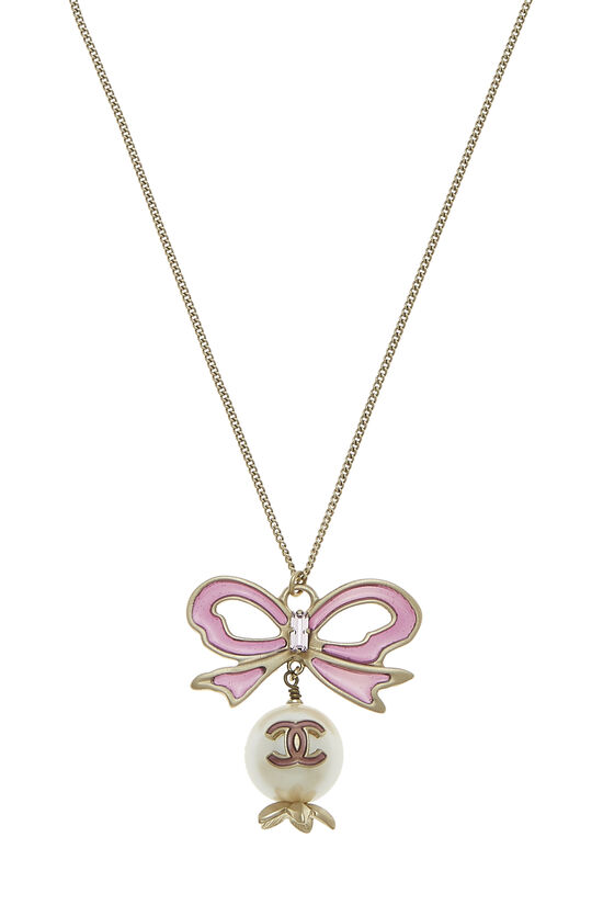 Purple Bow & Faux Pearl Necklace Large, , large image number 1