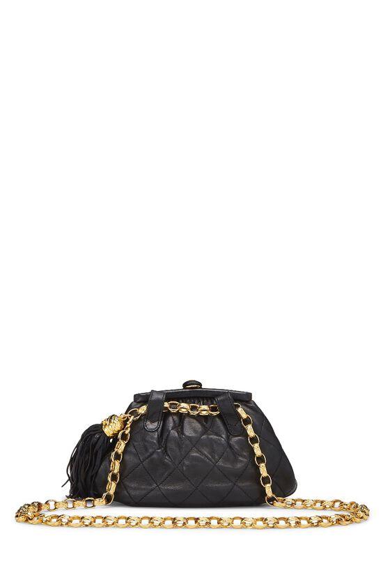 Black Quilted Lambskin Tassel Belt Bag, , large image number 3