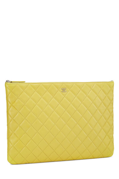 Yellow Quilted Lambskin Pouch, , large