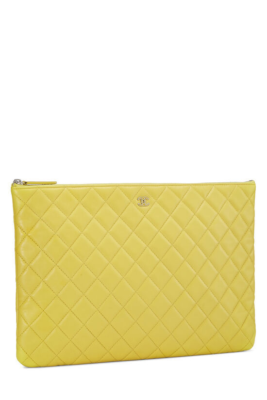 Yellow Quilted Lambskin Pouch, , large image number 1
