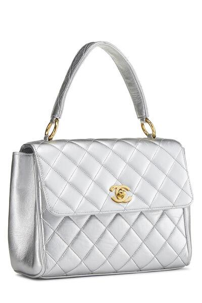 Metallic Silver Lambskin Top Handle Bag, , large
