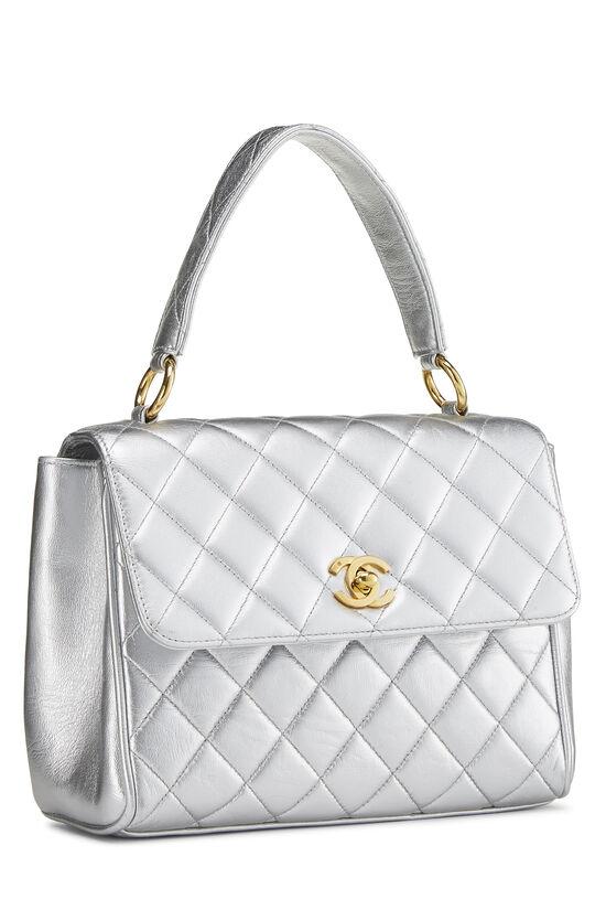 Metallic Silver Lambskin Top Handle Bag, , large image number 1
